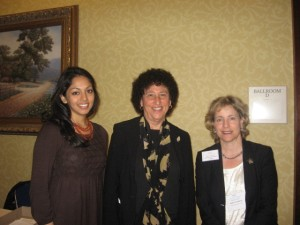 NCL's Ria Eapen (left) and Sally Greenberg (right) with Marion Nestle (center).